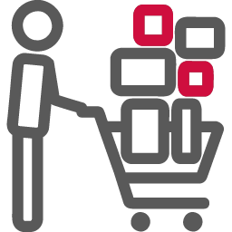 shopper with trolly icon